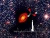 Immagine composita che mostra lo spettro dellacido formico e la sua struttura molecolare sovrapposti al disco protoplanetario di TW Hydrae (fonte: ESO, ALMA; ESO/NAOJ/NRAO, Favre et al. 2018)