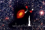 Immagine composita che mostra lo spettro dell'acido formico e la sua struttura molecolare sovrapposti al disco protoplanetario di TW Hydrae (fonte: ESO, ALMA; ESO/NAOJ/NRAO, Favre et al. 2018)