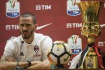 Milan's captain and defender Leonardo Bonucci attends a press conference at the Olimpico stadium in Rome, Italy, 08 May 2018. Juventus FC and AC Milan will play the Italy Cup's Final on 09 May.ANSA/MAURIZIO BRAMBATTI