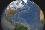 Le linee indicano la Circolazione Atlantica, il cui indebolimento corrisponde a temperature più elevate (fonte: NASA)