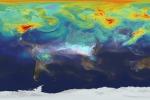 Rappresentazione dei livelli di CO2 nell'atmosfera, relativi al 2006 (fonte: Goddard Flight Center/NASA)