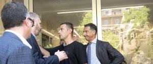Il consigliere di amministrazione del Parma, Pietro Pizzarotti e il calciatore del Parma, Emanuele Calaiò