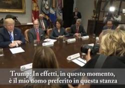 Il presidente americano durante un incontro con i vertici di note case automobilistiche tra cui Fca