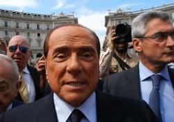 Il leader di Forza Italia arrivando alla chiesa di Santa Maria degli Angeli