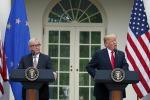Jean-Claude Juncker e Donald Trump durante l'incontro a Washington