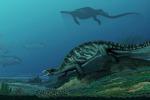 Una ricostruzione della Eorhynchochelys nel suo habitat (fonte: IVPP)