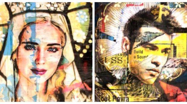 La Ferragni e Fedez come la Madonna e l'Arcangelo Michele: artista li ritrae in due icone sacre