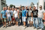 Gli operai ex Set impianti durante la manifestazione di protesta a Priolo
