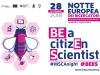 La locandina della tredicesima edizione della Notte Europea dei Ricercatori organizzata da Frascati Scienza, il cui tema è BE a citizEn Scientist (BEES), dedicato alla scienza partecipata
