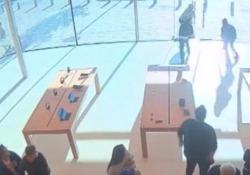 I ladri staccano i computer dai tavoli e fuggono sotto gli occhi di commessi e clienti