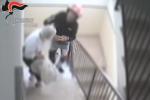 Un frame del video che riprende la violenta rapina ai danni di un'anziana a Catania