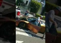 La scena ripresa da un automobilista su una strada a Hollywood, in California