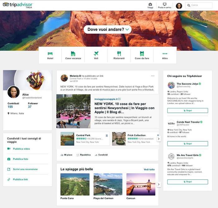 Risultati immagini per nuova funzionalità tripadvisor social
