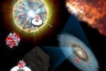 Le stelle che muoiono esplodendo come supernovae lasciano impronte chimiche nei meteoriti, utili a ricostruire l'origine e l'evoluzione del Sistema solare (fonte: NAOJ)