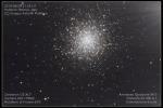 L'ammasso globulare M13 nella costellazione di Ercole, distante 22.000 anni luce (fonte: Gruppo Astrofili Palidoro)