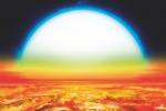 Il pianeta Kelt-9, dall'atmosfera ricca di metallo. Il disco della sua stella appare enorme nel cielo (fonte: Denis Bajram)
