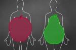 Le due tipologie di grasso, a mela (addominale) e a pera (sui fianchi)
