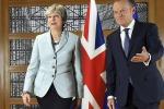 La premier britannica Theresa May e il presidente del Consiglio europeo Donald Tusk