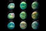 Le immagini di Titano riprese dalla sonda Cassini nei passaggi ravvicinati  avvenuti fra il 2009 e il 2010 (fonte: NASA/JPL-Caltech/University of Arizona/University Paris Diderot/IPGP/S. Rodriguez et al. 2018)