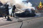 Auto a fuoco sulla Palermo-Agrigento: nessun ferito, traffico in tilt