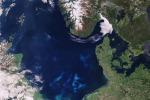 Fioritura di alghe nel Mare del Nord (fonte: Copernicus Sentinel data (2017), ESA, CC BY-SA 3.0 IGO)