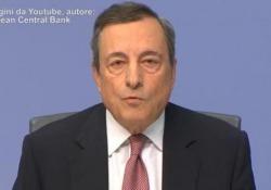 Il presidente della Banca Centrale Europea parla dell'aumento dei tassi, «saliti per le aziende e le famiglie»