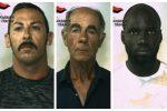 Gli arrestati Filippo e Giuseppe Casciola e Ansumana Njie