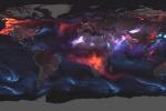 La mappa degli aerosol sulla Terra, basata sui dati rilevati dai satelliti della Nasa (fonte: NASA/Joshua Stevens/Adam Voiland)