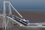 Fotogramma del video che simula il crollo del ponte Morandi a Genova (fonte: Youtube,  Kostack Studio)