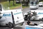Il video dell'incidente girato dalla videosorveglianza su una strada in Ucraina