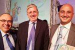 Da sinistra Nino Carlino Presidente Distretto Pesca e Crescita Blu, l'Ambasciatore Massimo Gaiani e l'assessore Attività Produttive Mimmo Turano