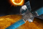 Rappresentazione artistica della sonda BepiColombo in un passaggio ravvicinato a Venere (fonte: Airbus Defense and Space)