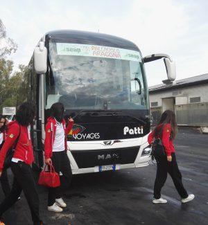 Le giocatrici pronte per il viaggio verso Castellammare di Stabia