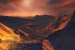 Rappresentazione di un tramonto visto dalla superterra della stella Barnard. (fonte: Martin Kornmesser/ESO)