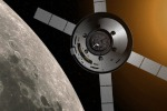 Rappresentazione artistica della navetta Orion della Nasa, destinata a portare l'uomo su Luna e Marte. Il modulo di servizio è europeo e ha tecnologia italiana (fonte: NASA)
