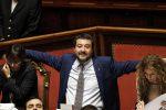 Matteo Salvini durante il voto di fiducia al Senato sul decreto sicurezza