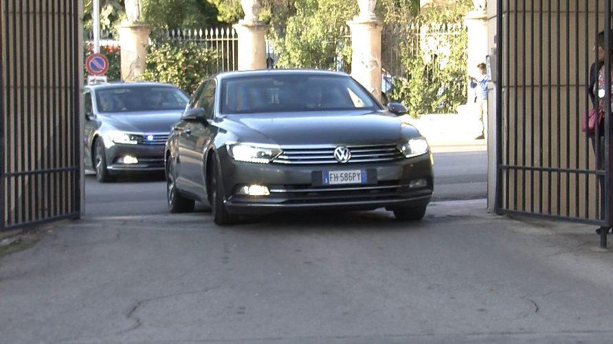 L'arrivo del premier a Villa Igiea