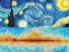 In alto la Notte stellata di Van Gogh (fonte: PIxabay) e in basso la mappa del cielo ottenuta dal satellite europeo Planck (fonte: ESA, Planck Collaboration)