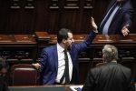 Il ministro dell'Interno Matteo Salvini alla Camera durante il voto fiducia sul decreto Sicurezza
