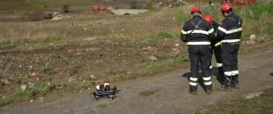 I vigili del fuoco impegnati nelle ricerche di Giuseppe Liotta