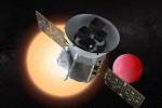 Rappresentazione artistica del telescopio spaziale Tess della Nasa e di un pianeta vicino alla sua stella (fonte: NASA/GSFC)