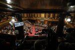 Una panoramica dell'aula di Palazzo Madama durante l'esame della legge di bilancio