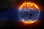 Rappresentazione artistica del pianeta simile a Nettuno che sta perdendo la sua atmosfera perché troppo vicino alla sua stella, GJ 3470 (fonte: NASA, ESA, D. Player/STScI)