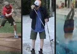 Corre, si butta in piscina dal trampolino, gioca a baseball