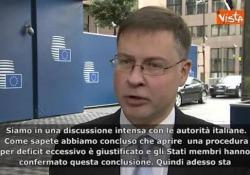 Il vicepresidente della Commissione Ue, Valdis Dombrovskis, alla riunione dell'Eurogruppo a Bruxelles.