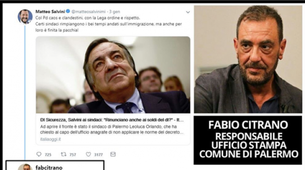 insulto Citrano Salvini, tweet addetto stampa, tweet Fabio Citrano, Fabio Citrano, Matteo Salvini, Palermo, Cronaca