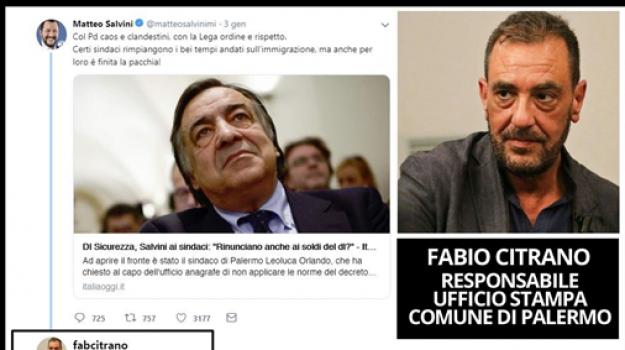 scontro orlando salvini, tweet volgare, Fabio Citrano, Leoluca Orlando, Matteo Salvini, Palermo, Politica