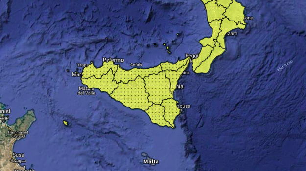 allerta gialla sicilia, allerta meteo, Sicilia, Meteo
