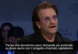Il leader degli U2 interviene al forum economico in Svizzera
