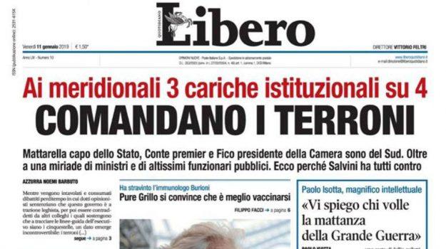 comandano i terroni, meridionali, prima pagina libero, Sicilia, Cronaca